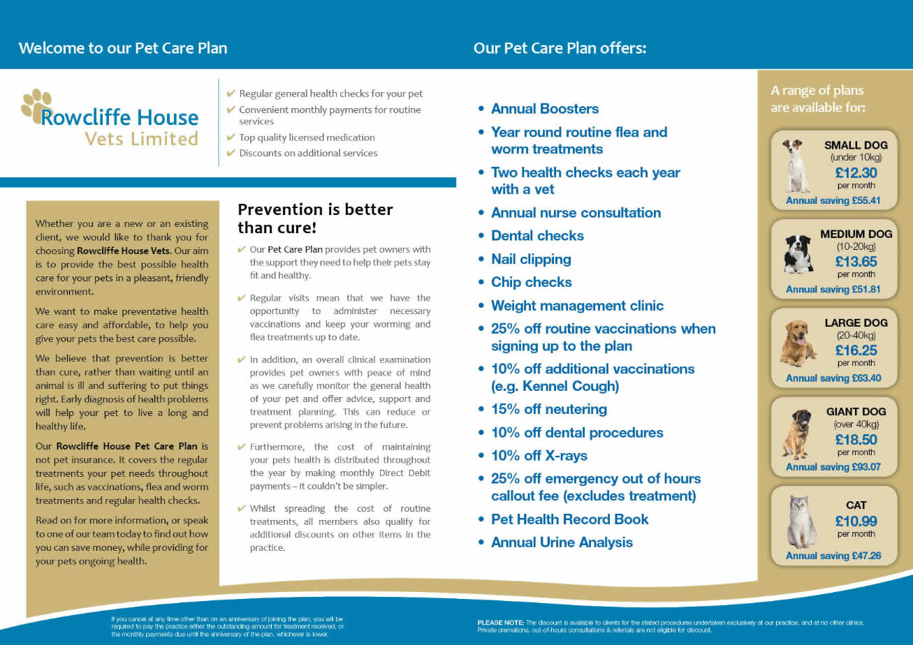 Pet Care Plan at Rowcliffe House Vets